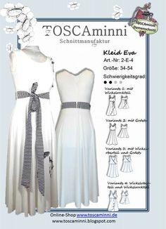 Schnittmuster Damenkleid Gr. 34-54 für den Sommer von TOSCAminni Schnittmuster & E-Books auf DaWanda.com