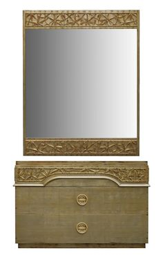 Pair of Gilt Chinoiserie Dressers and Mirrors by James Mont