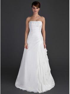 Wedding Dresses - $195.99 - A-Line/Princess Strapless Floor-Length Chiffon Taffeta Wedding Dress With Beading Cascading Ruffles  http://www.dressfirst.com/A-Line-Princess-Strapless-Floor-Length-Chiffon-Taffeta-Wedding-Dress-With-Beading-Cascading-Ruffles-002012595-g12595
