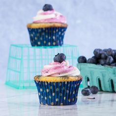Blueberry Swirl Cupcake, Gluten and dairy free. What to do with 300 quarts of blueberries.