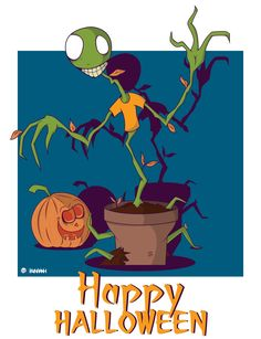 My Halloween art. A scary plant with spooky pumpkin.