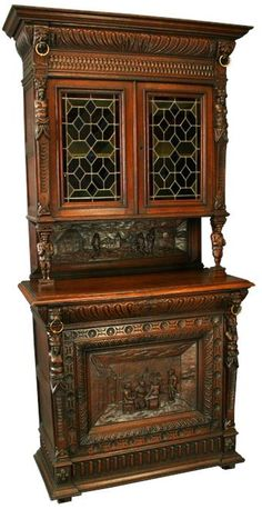 Very Cool Flemish Renaissance Buffet with Stained Glass Doors