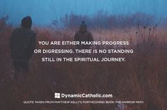 You are either making progress or digressing. There is no standing still in the spiritual journey.