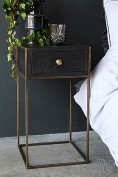 Halcyon Bedside Table With Drawer from Rockett St George Rockett St George Bedside Table Decor, Bedside Table Design, Wooden Bedside Table, Tall Bedside Tables, Bedside Table Styling, Side Tables Bedroom, Box Queen, Cama Box, Black Side Table