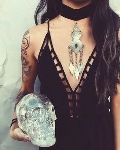 ☾∙✣☾∙ thick  chokers and crystal skulls #tgif ☾∙✣☾∙ {shop link in bio } #childofwild