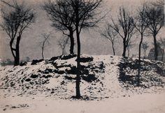 Henri Le Secq (1818-1882 French) • Neige au Champ-de-Mars Ca 1835