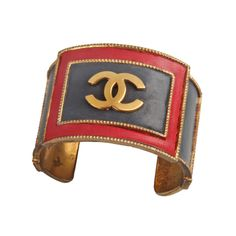 CHANEL Leather and Metal Logo Cuff Bracelet