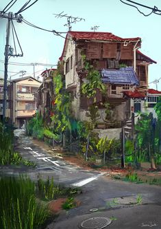 A personal painting I did while I was in Japan. This is what a lot of the houses looked like in the area I stayed in the most in Osaka. Can't wait to come back again. <3   If you ever decide to travel to Japan: DO IT. It's such a beautiful country. I recommend Osaka (friendly people!) and Hokkaido (country town and great food!)