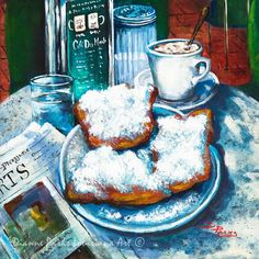 """""""A Beignet Morning"""" by Dianne Parks - available through Fine Art America - a great scene of the famous Cafe du Monde in New Orleans. Always eat beignets when in NOLA ! Beignets, Louisiana Art, New Orleans Louisiana, Louisiana Kitchen, Louisiana History, New Orleans Art, Jackson Square, Thing 1, All I Ever Wanted"""