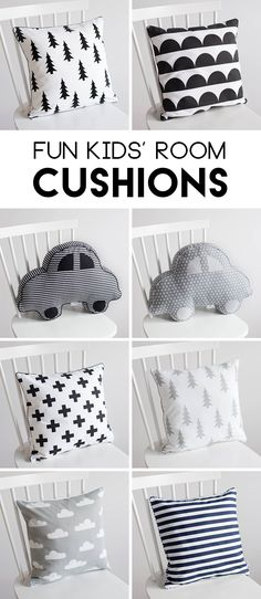 A monochromatic nursery theme or kid's room theme somehow manages to be both classic and on-trend all at once. With simple black and white, plus some grey thrown in for good measure, you can't really go wrong for a boy's room or a girl's room with this simple theme and set of ideas. These trendy monochromatic cushions for sure make a great addition to the kids room! #kidsroom #nursery #monochrome #ad