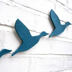 Ceramic wall art Flock Flying ducks in teal blue by PrinceDesignUK, $75.00