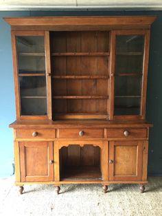 Early Victorian Antique Glazed Oak Kitchen French Welsh Dresser Display Cabinet