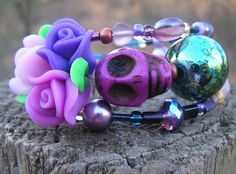 The Original Day of the Dead Wrap Around Bracelet Frida Inspired 3 loops PURPLES