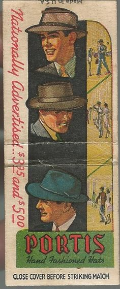 """Match book cover from Portis Hand Fashioned Hats....""""Nationally Advertised.."""""""