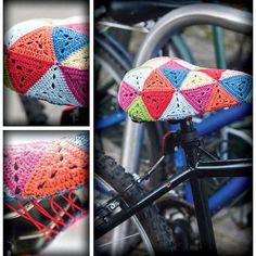 Want to crochet your own colorful, granny-chic bike seat cover? Download this #DIY pattern now. #etsy