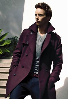 that coat, that look on his face (Eddie Redmayne for InStyle, December 2012)