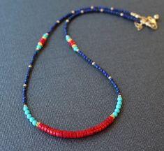 Lapis and coral bracelet gemstone bracelet beaded lapis Seed Bead Necklace, Seed Bead Jewelry, Cute Jewelry, Jewelry Crafts, Seed Beads, Beaded Choker, Beaded Earrings, Beaded Bracelets, Coral Bracelet