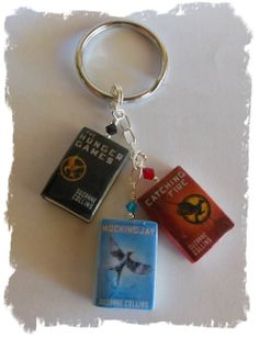 Handmade Polymer Clay Hunger Games Books Keychain
