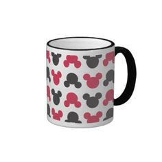 Black and Red Pattern MICKEY Coffee Mugs