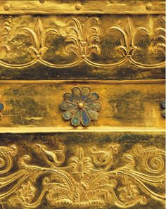 A detail from the golden larnax of Philip II , Aigai Tombs