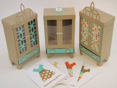 Note Card Armoire Tutorial by Qbee - Cards and Paper Crafts at Splitcoaststampers 3d Paper Crafts, Diy Paper, Paper Crafting, Craft Tutorials, Craft Projects, 3d Templates, Rena, 3d Craft, Box Patterns