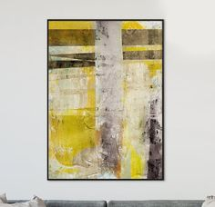 Large Abstract Art Printable Art Grey And Yellow Abstract Home Sweet Hell, Modern Art, Contemporary Art, Yellow Wall Art, Grand Designs, Abstract Art, Abstract Paintings, Printable Art, Photo Art