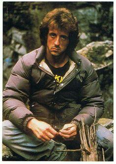 Rambo wearing a Rocky T-shirt