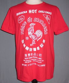 dc9f449c Sriiracha Hot Sauce Adult XL Red T-Shirt X-Large Vietnam Vietnamese Chinese  Food