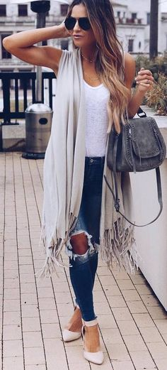 #spring #outfits white top, sleeveless coatee, ripped jeans, beige heels