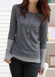 Striped Glove Sleeve Patchwork Grey T Shirt - women gloves fashion Stylish Tops For Girls, Trendy Tops For Women, Umgestaltete Shirts, Women's Tees, Look Fashion, Fashion Outfits, Fashion Boots, Womens Fashion, Striped Gloves