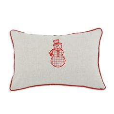 Snowman Embroidered Throw Pillow