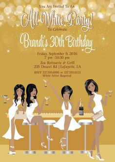 e7b48a677e22 All White Party Invitation White Birthday by AnnounceItFavors 40th Birthday  Parties, 35th Birthday, Adult
