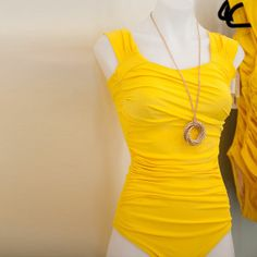 Sunny yellow swimsuit with ruching to sculpt your figure! Albion Fit