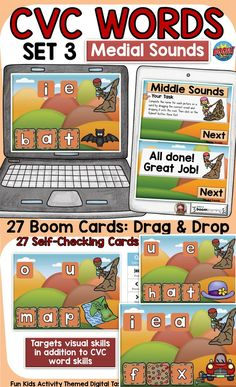 The 27 digital Boom Cards will reinforce students' understanding of CVC Short Vowels A, E, I, O, and U words (MIDDLE/MEDIAL SOUNDS). This is SET 3 in the MIDDLE SOUNDS SERIES. It targets students' visual skills in addition to their knowledge of spelling CVC short vowel words. Phonemic Awareness Activities, Social Studies Resources, Teaching Phonics, High School Classroom, English Reading, Short Vowels, Australian Curriculum, Cvc Words, Task Cards