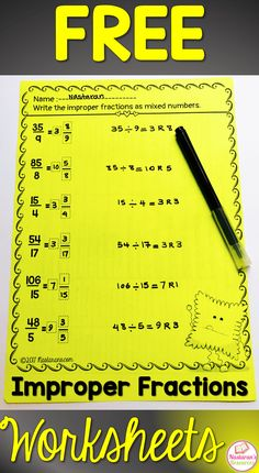 mixed numbers and improper fractions worksheets free Adding And Subtracting Fractions, Improper Fractions, Comparing Fractions, Free Fraction Worksheets, Fractions Worksheets, Fraction Games, Math Resources, Math Activities, Fraction Activities