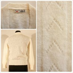 """* MOHAIR CARDIGAN *  vintage off white light mohair cardigan soft pattern on front, motherpearl buttons no signs of wear, excellent conditions!  size S/8 UK shoulders: 37 cm - 14,5"""" bust: 47 cm - 18,5"""" length: 53 cm - 21"""" € 20 plus p&p"""