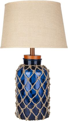 Amalfi Navy Blue Nautical Fillable Lamp (PS Free Shipping!)  The top can come off to add white shells, etc.