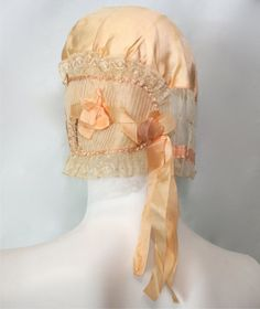 Beautiful Vintage Silk and Lace Sleep Hat by AntoinettesCake