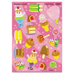 Stinky Stickers Themed Variety Sheet, Sweet Treats, 72/pack