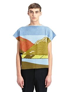 NEW SEASON - J.W. Anderson Mens Landscape Graphic Sleeveless Knit Sweater