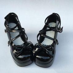 Glossy Black High Platform Lolita Heels Shoes