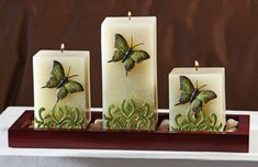 Butterfly Square Pillar Candle Set W/ Wooden Tray