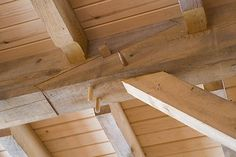 Plated Scarf Joint In A Timber Frame House Stock Photo Joinery Details, Modern Roofing, Wood Joinery, Roof Architecture, Timber Frame Homes, Wood Construction, Framing Construction, Glass Roof, Roof Design