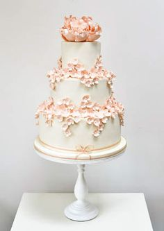 falling peach blossoms wedding cake by Rosalind Miller Cakes