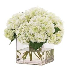 Picture of Cream Hydrangeas in a Clear Glass Cube-FREE SHIPPING!