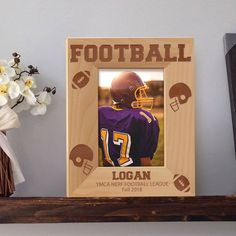 Football Picture Frame, Personalized Picture Frames 4x6, Wooden Picture Frames 5x7, Football Lover Gift by MarketingHills on Etsy Personalized Picture Frames, Wooden Picture Frames, Football Pictures, Star Pictures, Picture Engraving, Fall Football, Military Gifts, Gifts For Father, Special Gifts