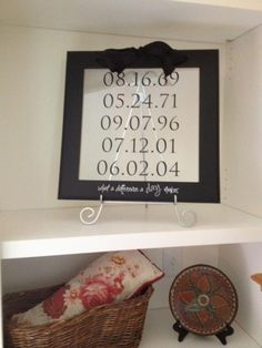 Custom on Uppercase Living frame work. Custom mom and dad date of birth then add the kids. Such a cute idea!