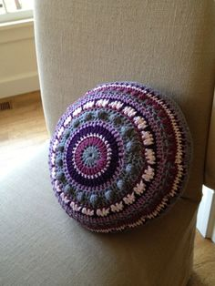 Mandala Crochet Pillow by AnnooCrochet on Etsy