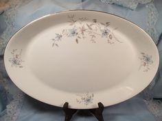 Fantasy Blue Royal Bohemian Fine China Warranted Platinum Oval Serving Platter
