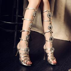 Shoes Woman Square High Slim Heel Bright Fish Head New Temperament Sandals Women Fashion Boots Low Heeled Gold Rhinestone